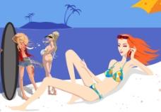 沙滩美女图片