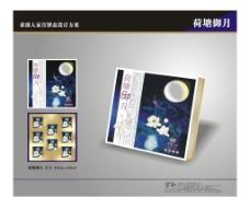 月饼盒包装 失量 荷塘 (部分合层)图片