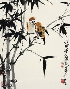 雀栖竹林图片
