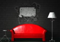 时尚红色沙发图片