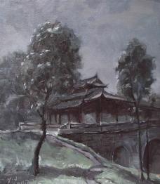油画写生 塔子山中式廊桥图片