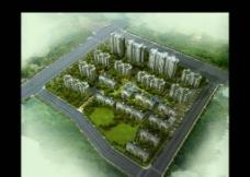 高层住宅 小区鸟瞰图图片