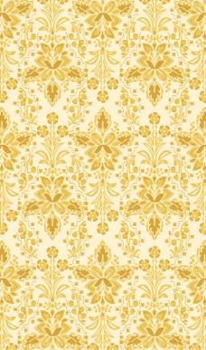 黄色花纹墙纸图片