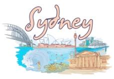手绘澳大利亚悉尼城市建筑风光图片