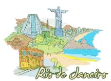手绘巴西里约热内卢沿海城市建筑矢量图片
