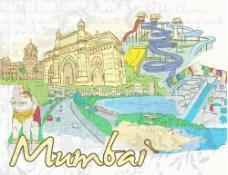 手绘印度孟买旅游城市建筑风光图片