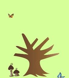 树枝(可贴手工树叶)图片