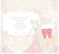 浪漫新娘新郎红酒梦幻花纹图片