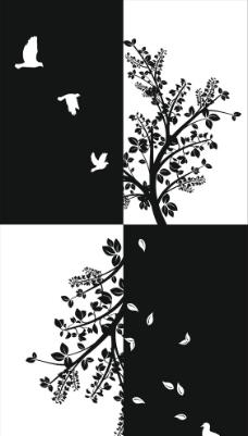 简单黑白装饰画图片