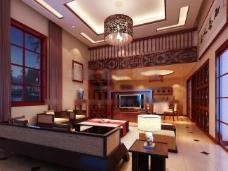中式客厅模型图片