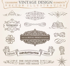 古典花纹花边框装饰元素图片