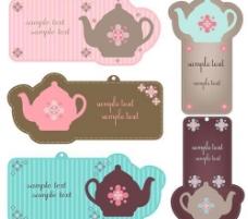 可爱花纹茶壶标签图片