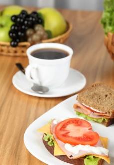 汉堡 咖啡图片