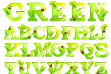绿叶字母图片