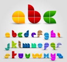 可爱剪纸拼图字母矢量图片