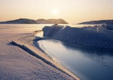 北极霞光图片