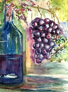 红酒葡萄水彩画图片