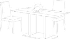 桌椅线条图片