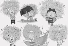 可爱卡通小女孩笔刷图片