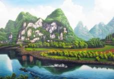 桂林山水油画图片