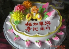 鲜花生日蛋糕图片