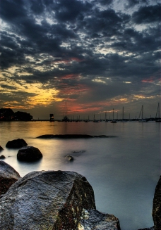 海洋落日风光图片