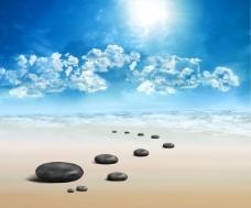 桌面图片高清大海石头背景图片
