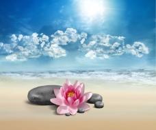 高清蓝天石头背景素材