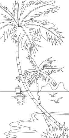 简笔画椰树风景