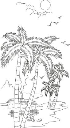 椰树怎么画简笔画