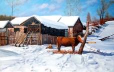 冬日村庄图片