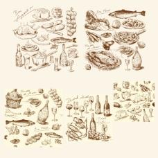 西餐素描食品素材