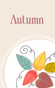 手绘秋天树叶背景图片