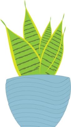 绿色植物花盆盆栽矢量图图片