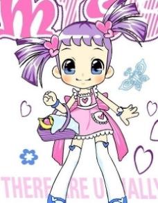 矢量卡通小女孩 服装设计印花图片