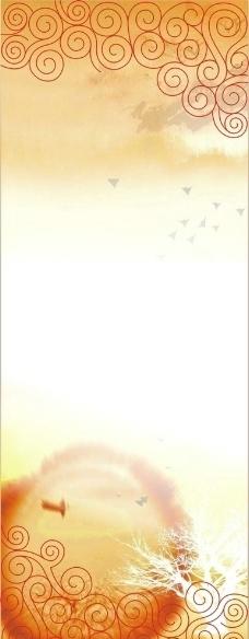 水墨背景X展架图片