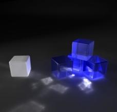 蓝色3D立方体图片