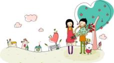 卡通小情侶圖片