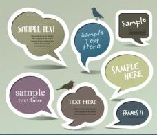对话泡泡小鸟标签贴纸